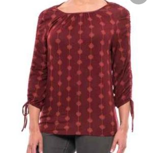 Max Jeans | Red with Orange Print Blouse